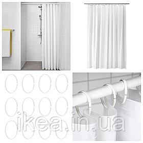 Шторка для ванной и душа с кольцами IKEA BJÄRSEN 180x200 см белая ИКЕА БЙАРСЕН