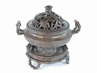 Статуэтка бронзовая - чаша резная и поднос бамбук (19х17х15 см)