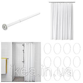 Шторка для ванной и душа с кольцами и штангой IKEA BJÄRSEN 180x200 см белая ИКЕА БЙАРСЕН