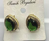 Нарядные женские серьги с большим зелёным кристаллом. Вечерняя бижутерии Сваровски на Украине. 494