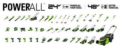 Аккумуляторный инструмент GreenWorks 24 V . Powerworks 24 V Greenworks 2x24 V / 48 V PowerAll