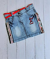 """Спідниця джинсова дитяча модна з лампасами на дівчинку 5-8 років """"MARI"""" купити недорого від прямого постачальника"""