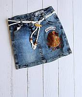 """Спідниця джинсова дитяча з аплікацією на дівчинку 5-8 років """"MARI"""" купити недорого від прямого постачальника"""