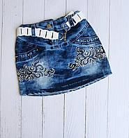 """Спідниця джинсова дитяча з вишивкою на дівчинку 5-8 років """"MARI"""" купити недорого від прямого постачальника"""
