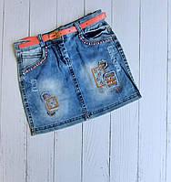 """Спідниця джинсова дитяча з нашивками на дівчинку 5-8 років """"MARI"""" купити недорого від прямого постачальника"""