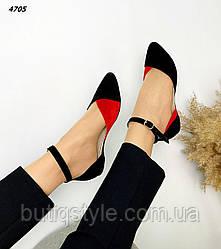 Женские черные балетки с красным натуральная замша с ремешком