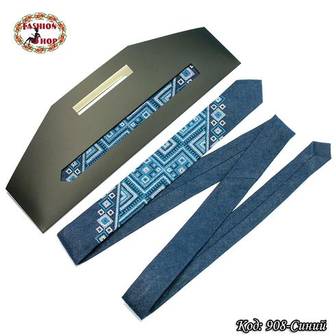 Узкий синий галстук из льна Геометрия