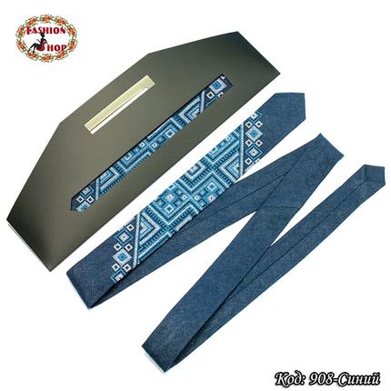 Узкий синий галстук из льна Геометрия, фото 2
