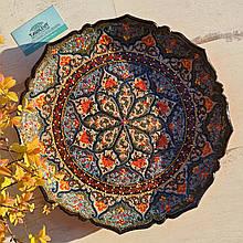 Узбекская тарелка точечная техника d 37 см. Риштан (192)