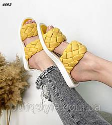 37,38,39 размер Женские желтые плетеные шлепки натуральная кожа