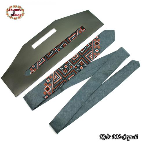 Узкий серый галстук из льна Геометрия