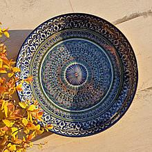 Тарелка для плова авторской росписи d 32 см. Узбекистан (163)