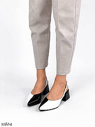Женские черно-белые туфли натуральная кожа с ремешком