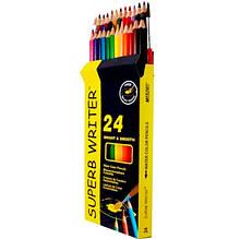 Олівці кольорові акварельні MARCO 24 кольору №4120-24CB superb writer + кисть