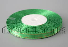 Лента атласная зеленая с золотым люрексом 0,6 см 30ярд 19