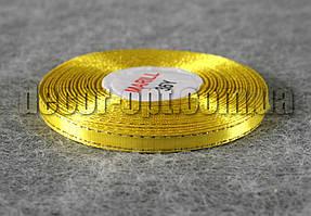 Лента атласная желтая с золотым люрексом 0,6 см 30ярд 15