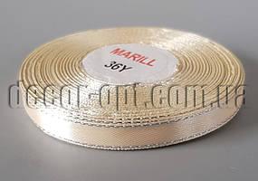 Лента атласная с серебреным люрексом оттенок кремовый 1,0 см 30ярд 08