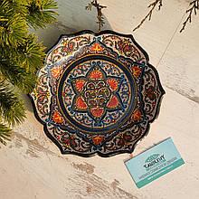 Узбекская тарелка точечная техника d 23 см. Риштан (1)