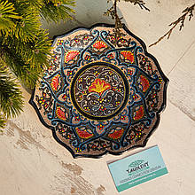 Узбекская тарелка точечная техника d 23 см. Риштан (5)