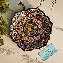 Узбекская тарелка точечная техника d 23 см. Риштан (9)
