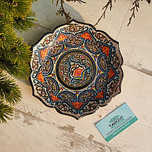 Узбекская тарелка точечная техника d 23 см. Риштан (11)