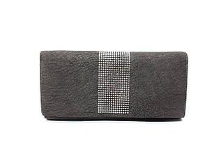 Классический, женский кошелек из замшевой текстурой, темно-серого цвета от SARALYN / 9*19*3