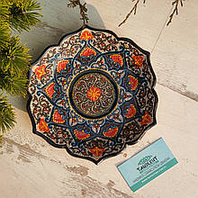 Узбекская тарелка точечная техника d 23 см. Риштан (13)