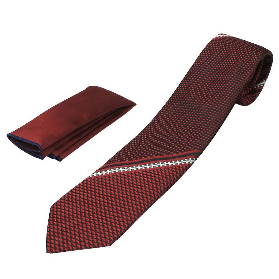 Стильный мужской галстук с платком Pierre Cavelli CPCompo-bordo4