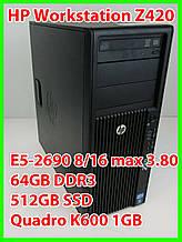 HP Workstation Z420 - Xeon E5-2690 8/16*2.90-3.80Ghz / 64GB DDR3 / SSD 512gb / Quadro 1gb