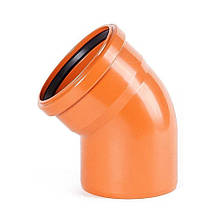 Колено ПВХ канализационное 250, 45°