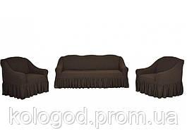 Жаккардовые Чехлы на Диван и 2 Кресла с Оборкой Универсальный Размер Набор 401