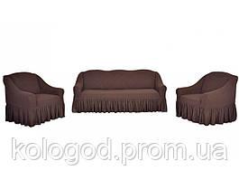 Жаккардовые Чехлы на Диван и 2 Кресла с Оборкой Универсальный Размер Набор 402