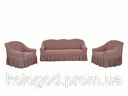 Жаккардовые Чехлы на Диван и 2 Кресла с Оборкой Универсальный Размер Набор 406