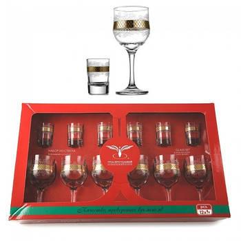 Комплект 12 предметный (EAV25-163/837) бокалы для вина 240 мл и стопки 60 мл рисунок Винтаж.