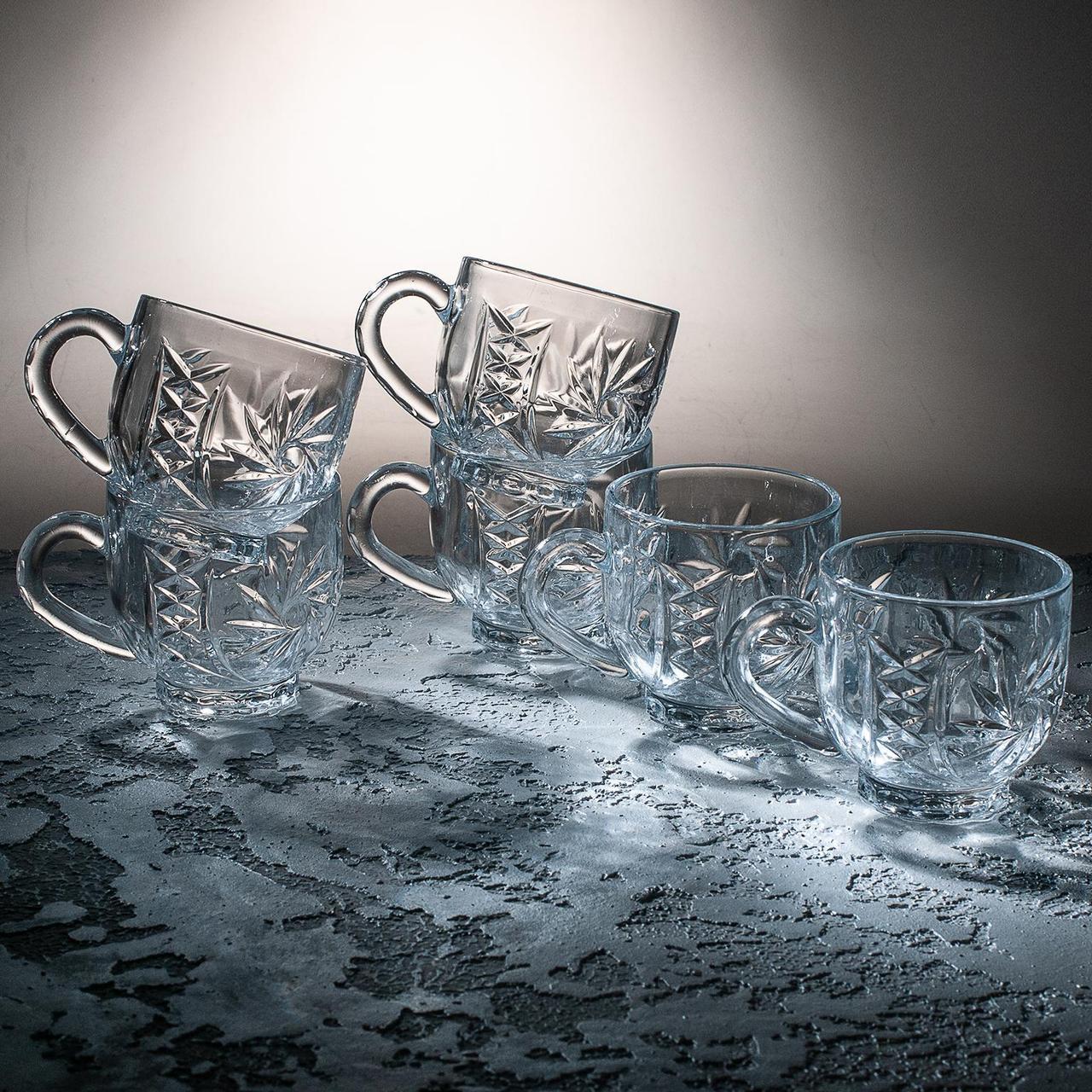 "Набір скляних чашок 210 мл ""Сніжинка"" 6 шт. ПУ"