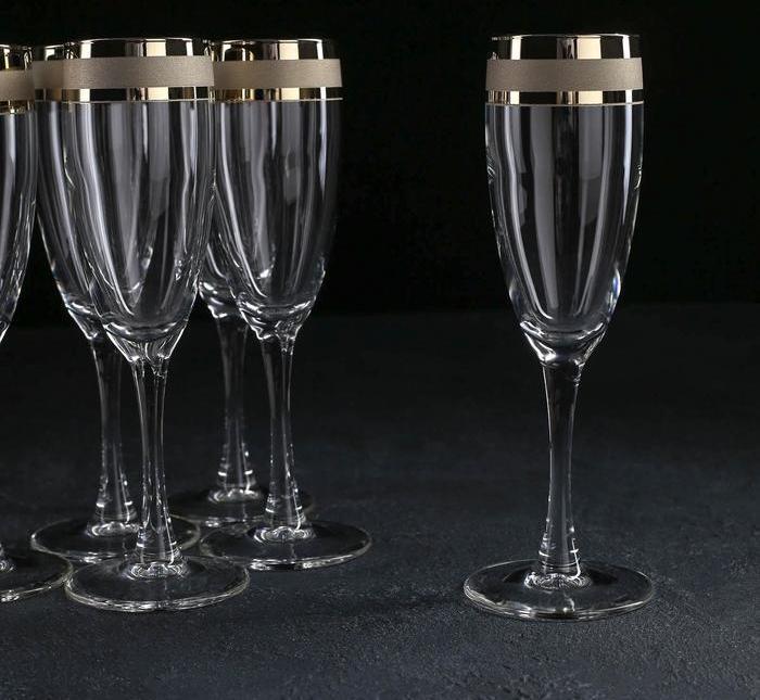 """Набір келихів для шампанського """"Ампір"""" 170 мл, 6шт."""