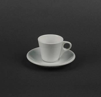 Кофейная чашка 75 мл с блюдцем белая.