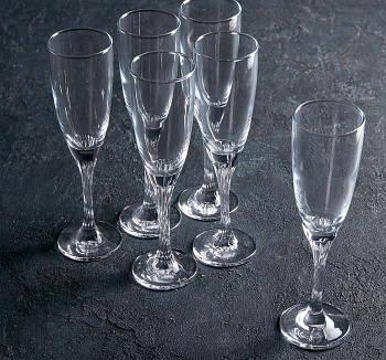 """Набор бокалов для шампанского 150 мл """"Twist"""" 6шт."""