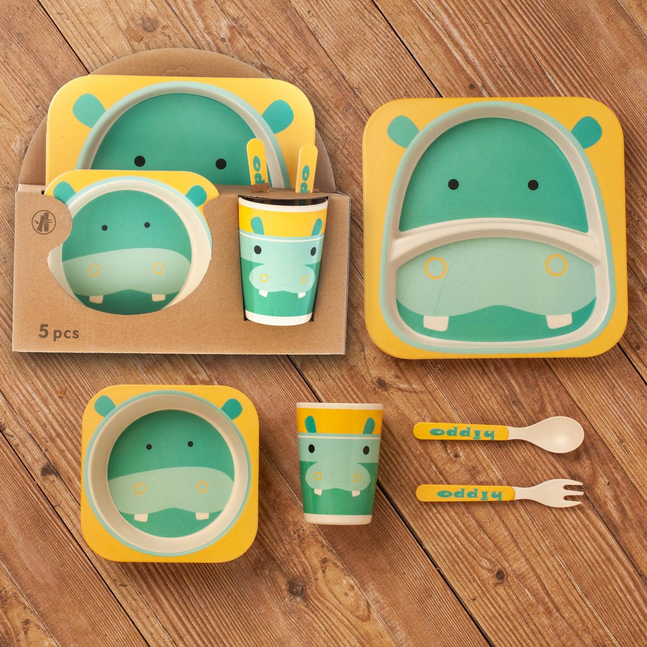 Бамбуковый набор детской посуды (ЭКО) «Бегемотик».