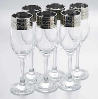 """Набор бокалов 190 мл для шампанского рисунок  """"Версаче"""" 6 шт."""