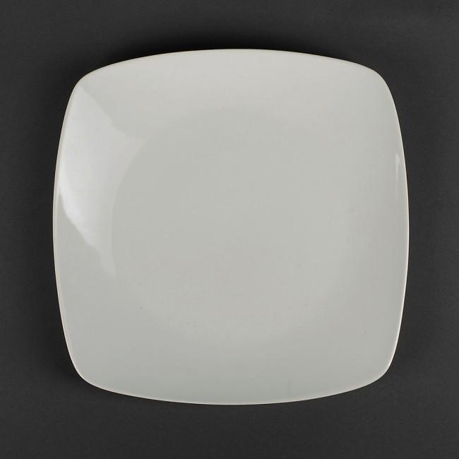 Тарелка мелкая 245 мм квадратная белая КНР.