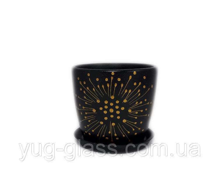 """Горшок цветочный лакированный """"Художественная дорисовка на черном"""" 0,5л H=10cm D=10cm керамический."""