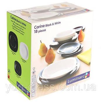 """Сервиз столовый 18 предметный Black White """"L9017"""" Luminarc."""
