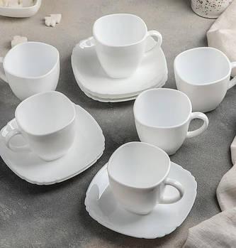 Сервиз чайный Lotusia Luminarc 12 предметный: 6 чашек 220 мл, 6 блюдец.