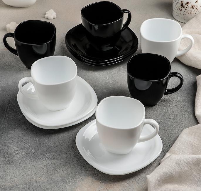 Сервиз чайный Carine-(B & W) 12 предметный: 6 чашек 220 мл, 6 блюдец 13,4 см, Luminarc.