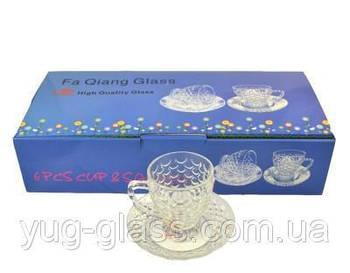 """Чайный стеклянный сервиз """"Ротанг"""" 12 предметный."""