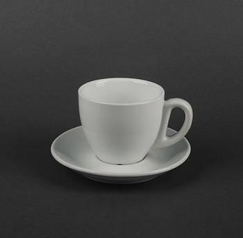 Чашка 90 мл с блюдцем белая для кофе.