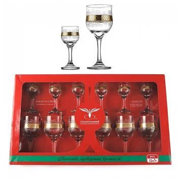 """Комплект 12 предметный (EAV25-163/164) бокалы для вина 240 мл и рюмки 60 мл рисунок """"Винтаж""""."""