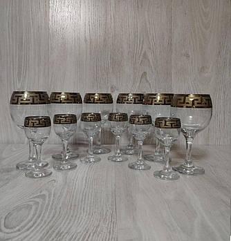 """Набор бокалов """"Греческий узор"""" (6 бокалов для вина+ 6 рюмок на ножке) 12 предметный."""