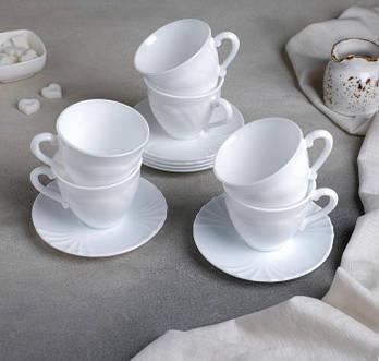 Сервиз чайный на 6 персон Cadix, 12 предметов, 220 мл, цвет белый